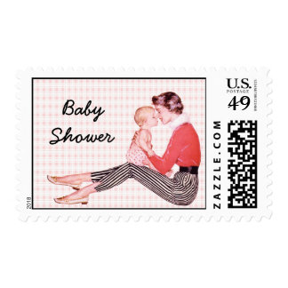 Retro Mom and Baby Shower Postage