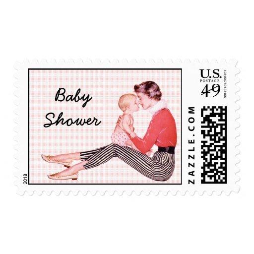 Retro Mom and Baby Shower Stamp