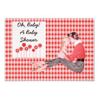 Retro Mom and Baby Shower V2 3.5x5 Paper Invitation Card