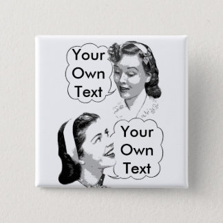 Retro Mom and Daughter Pinback Button