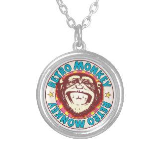 Retro Monkey Round Pendant Necklace