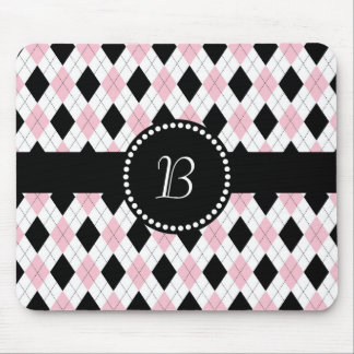 Retro Monogram Argyle Pattern Pink White Black Mouse Pad
