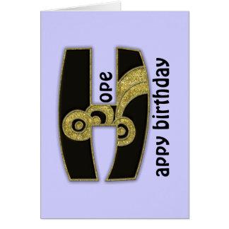 retro monogram - H Card