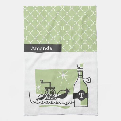 Retro Monogram Kitchen Towels   Green