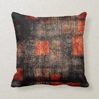 Retro Mosaic Squares | Brown Orange Grunge 4 Pillow