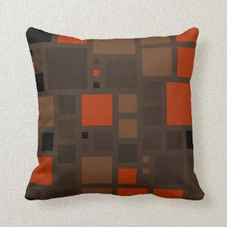 Retro Mosaic Squares | Brown Orange Throw Pillow