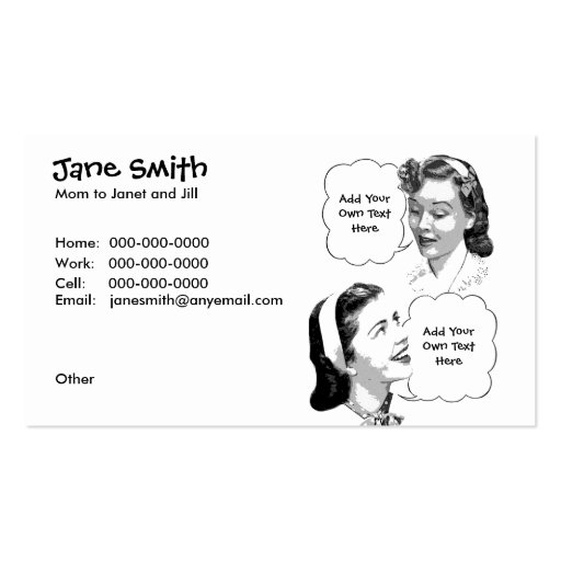 Retro Mother & Daughter Contact Card Business Card