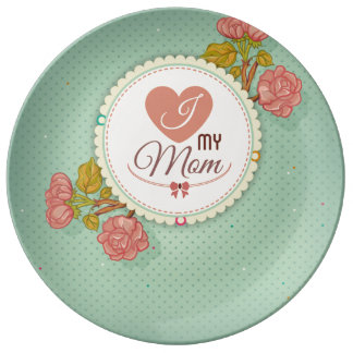 Retro mother's day flower pattern porcelain plate