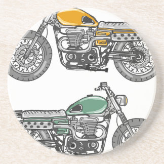 Retro Motorcycle Vector Sketch Sandstone Coaster
