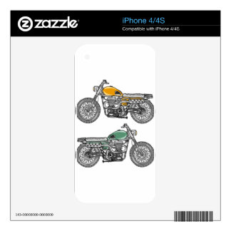 Retro Motorcycle Vector Sketch Skins For The iPhone 4