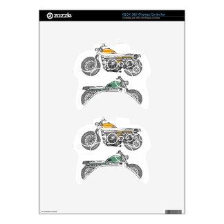 Retro Motorcycle Vector Sketch Xbox 360 Controller Decal
