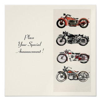 RETRO MOTORCYCLES  PARTY ,Gold White Red Black Card