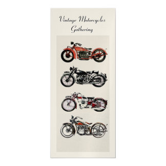 RETRO MOTORCYCLES  PARTY ,Gold White Red Black 4x9.25 Paper Invitation Card