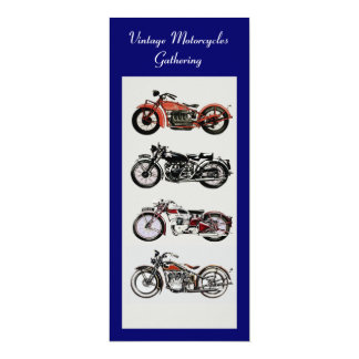 RETRO MOTORCYCLES  PARTY Red Black White Blue 4x9.25 Paper Invitation Card
