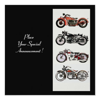 RETRO MOTORCYCLES  PARTY Red Black White Card