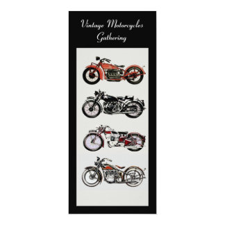 RETRO MOTORCYCLES  PARTY Red Black White Grey Card