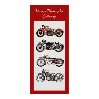 RETRO MOTORCYCLES  PARTY Red Black White Grey 4x9.25 Paper Invitation Card