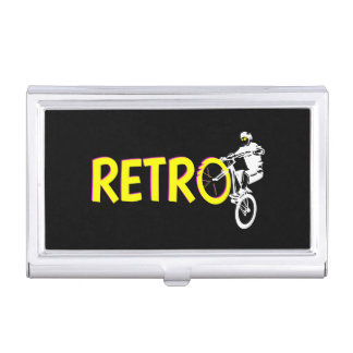 Retro mountain bike rider case for business cards