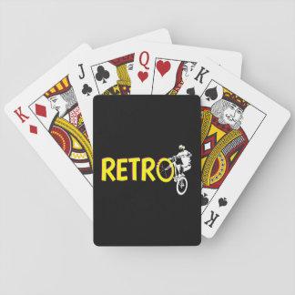 Retro mountain bike rider playing cards