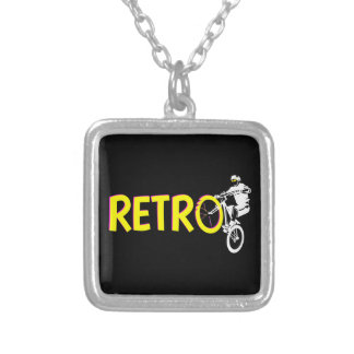 Retro Mountain bike Silver Plated Necklace