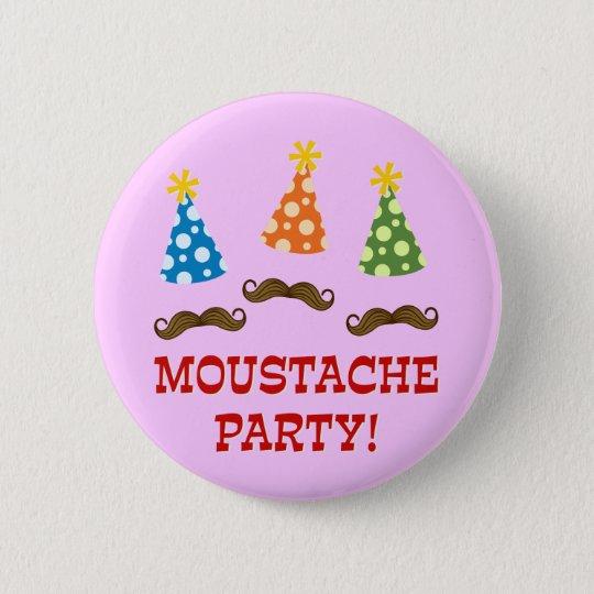 Retro Moustache Party Button