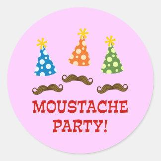 Retro Moustache Party Classic Round Sticker