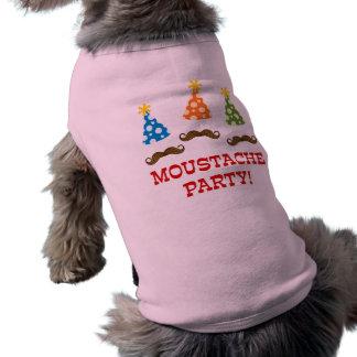 Retro Moustache Party Dog T Shirt