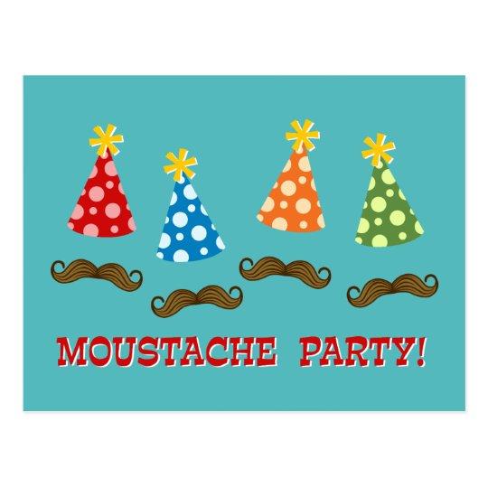 Retro Moustache Party Postcard