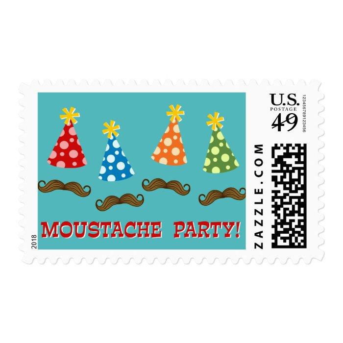 Retro Moustache Party Stamp