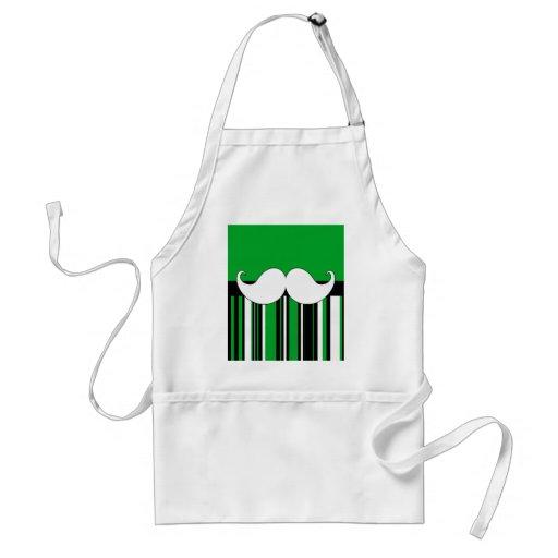 Retro Moustache Stache Mustache with Green Stripes Apron