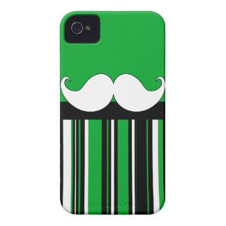 Retro Moustache Stache Mustache with Green Stripes iPhone 4 Cover