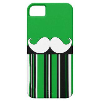 Retro Moustache Stache Mustache with Green Stripes iPhone 5 Cases