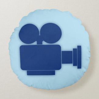 RETRO MOVIE CAMERA (BLUE) Round Pillow