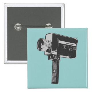 Retro Movie Camera 2 Inch Square Button