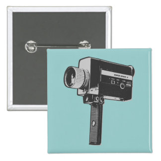 Retro Movie Camera Pinback Buttons