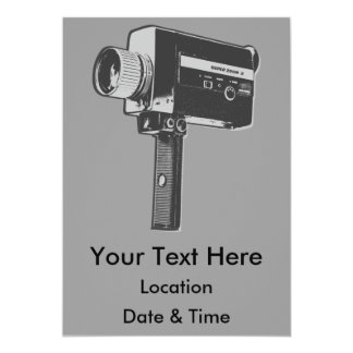 Retro Movie Camera Card