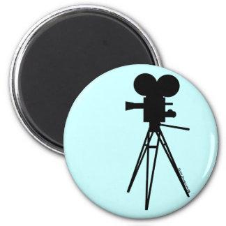 Retro Movie Camera Silhouette 2 Inch Round Magnet