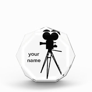 Retro Movie Camera Silhouette Acrylic Award