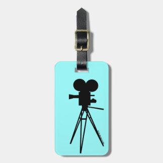 Retro Movie Camera Silhouette Bag Tag