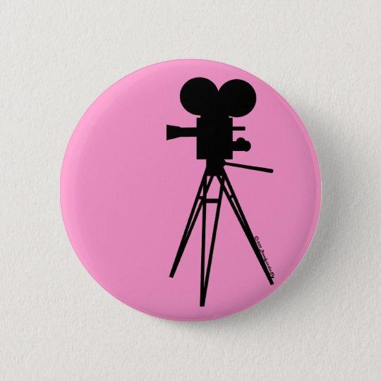 Retro Movie Camera Silhouette Button