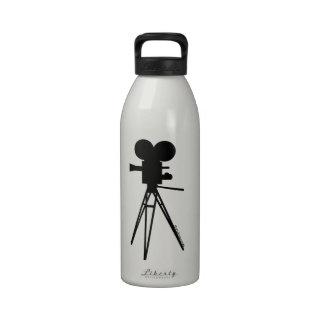 Retro Movie Camera Silhouette Custom Water Bottle