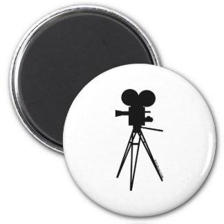 Retro Movie Camera Silhouette Magnet