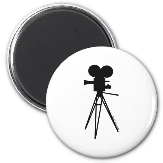Retro Movie Camera Silhouette Magnet