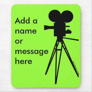 Retro Movie Camera Silhouette Mouse Pad