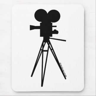 Retro Movie Camera Silhouette Mouse Pad