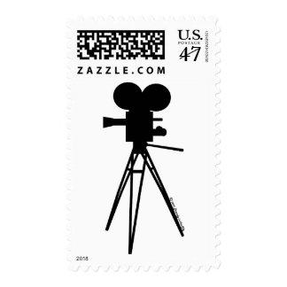 Retro Movie Camera Silhouette Postage Stamp