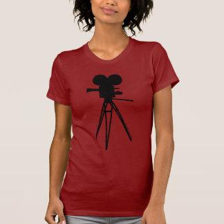 Retro Movie Camera Silhouette Red Tee