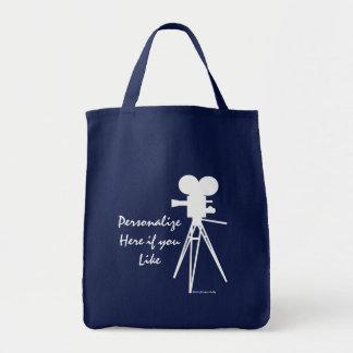 Retro Movie Camera Silhouette Tote Bag