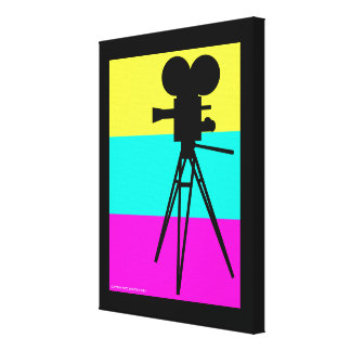 Retro Movie Camera Silhouette Wrapped Canvas