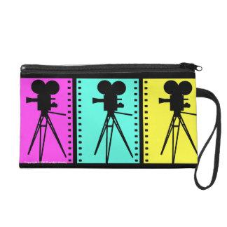Retro Movie Camera Silhouettes Filmstrip Bag Wristlets